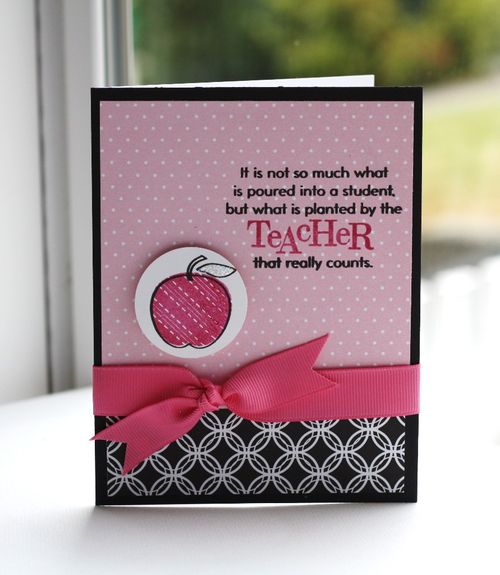 Teacher pink apple card