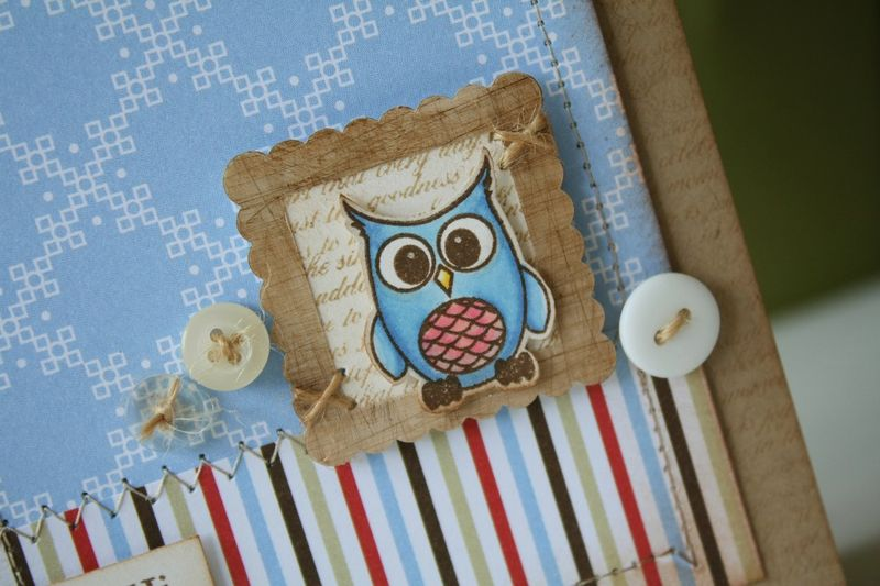 Lisa johnson wood frame owl card detail