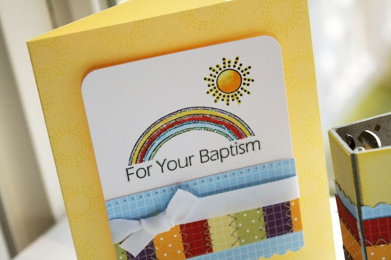 Heavenly Medley Rainbow Baptism card detail